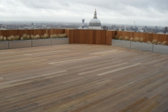 Universal pedestals for decking Aldersgate project