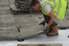 How to lay slabs onto plastic paving spacers
