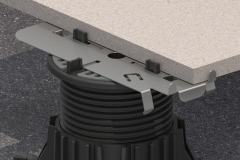 Mega-Balance-Self-Levelling-Pedestal-underneath-a-Ceramic-Tile-with-a-Metal-Edging-Plate