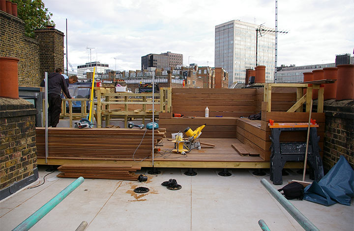 Terrace being installed in Buckingham Place