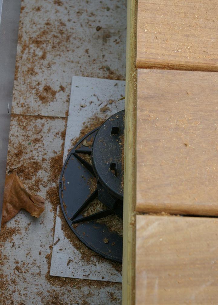 View of pedestal underneath decking