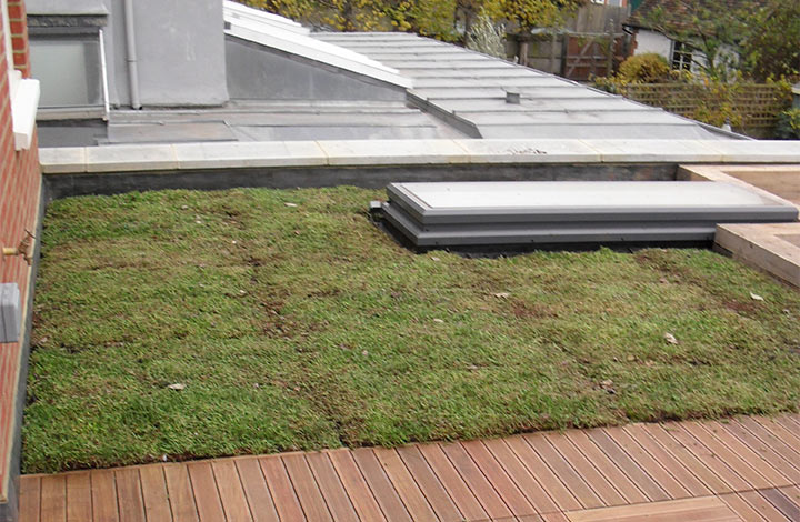 View of decking installation at Lyford Road, London