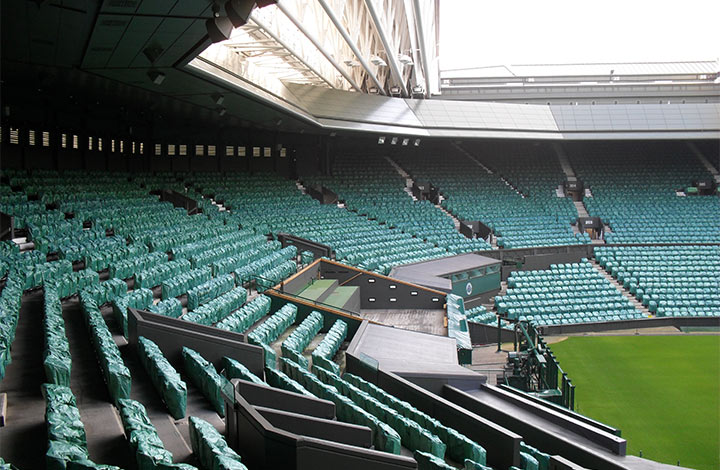 View of interior terrace at The All England Lawn Tennis Club in Wimbledon, London