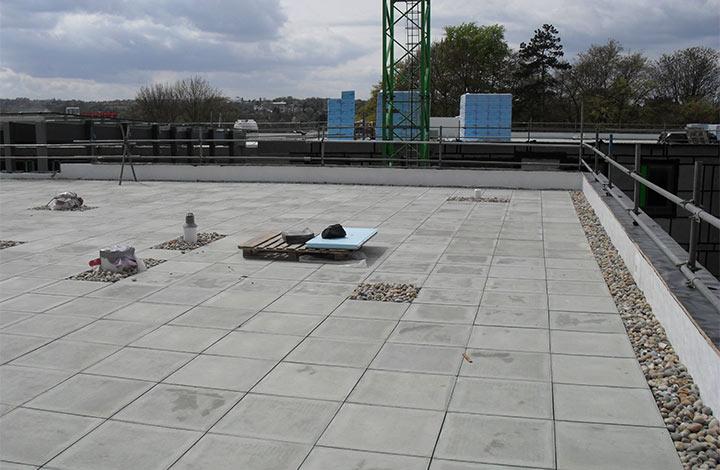 View of Stanley Park school terrace being built