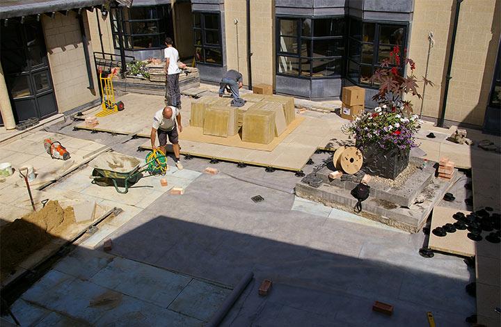 Decking installation at Somerville College courtyard