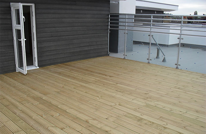 Finished terrace decking at oakwood group