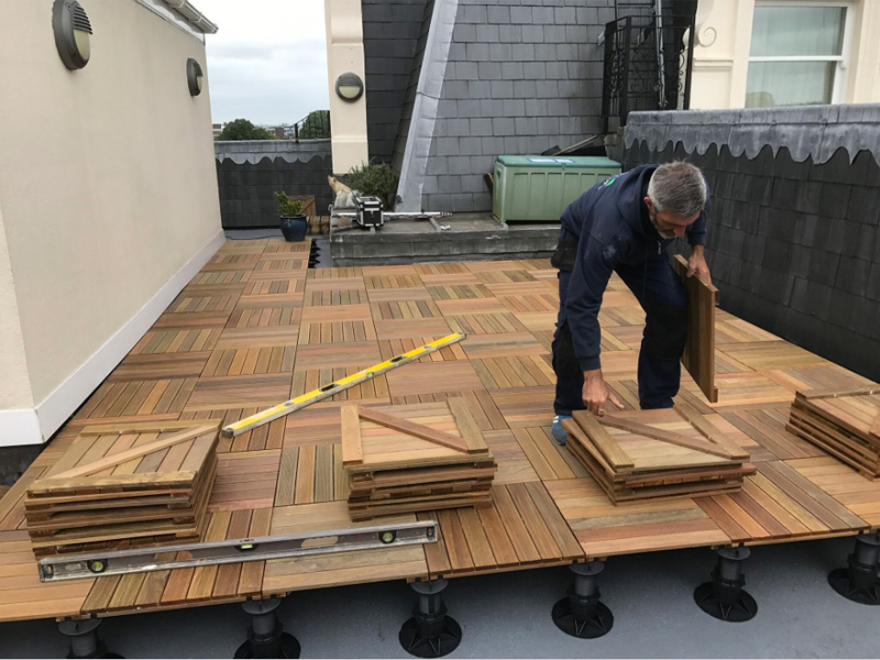 An image of an IPE decking tile installation at Tunbridge Wells, Kent (New)