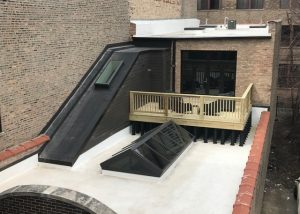 An image of a decking installation using Wallbarn's MegaPad pedestals in Chicago