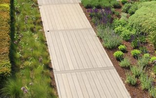 An overhead image of a completed decking installation