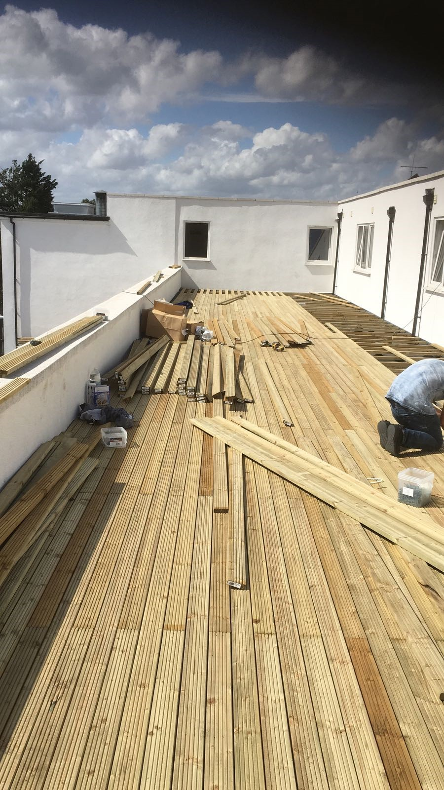 An image of a decking installation utilising Wallbarn's timber support pedestals in progress