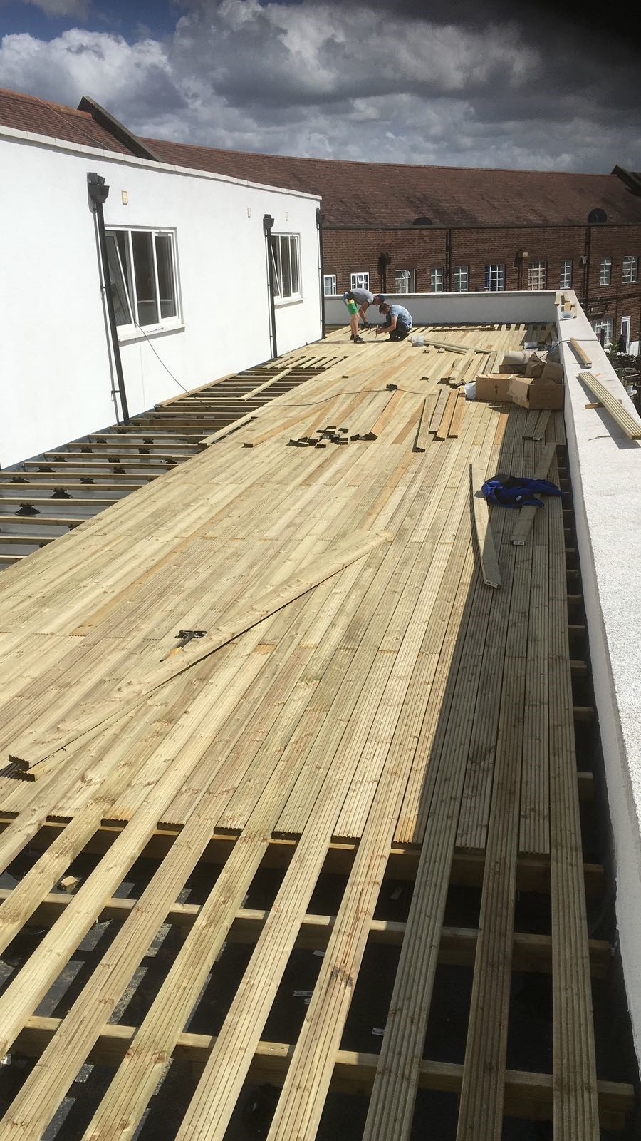 An image of a decking installation in progress