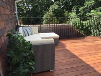 A closeup image of a completed decking installation