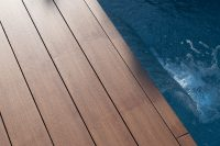 An image of a completed deck installation using teak decking tiles