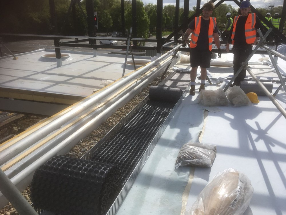 An image showing the initial stages of a the M-Tray installation at Starbucks