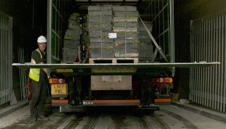 An image of M-Tray arriving to a on pallets