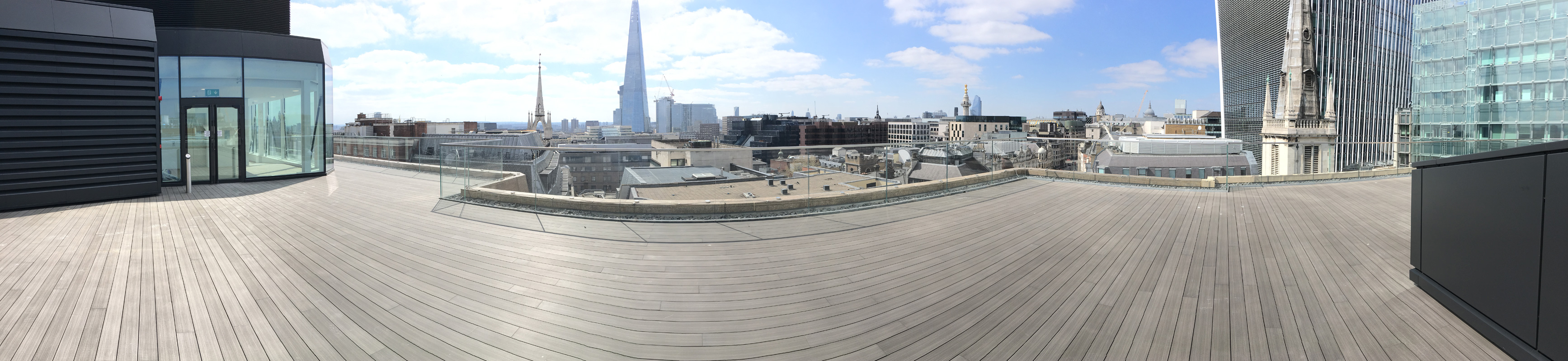 A panoramic image of an iDecking installation at Eastcheap, London