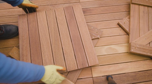 An image of a decking installation taking place