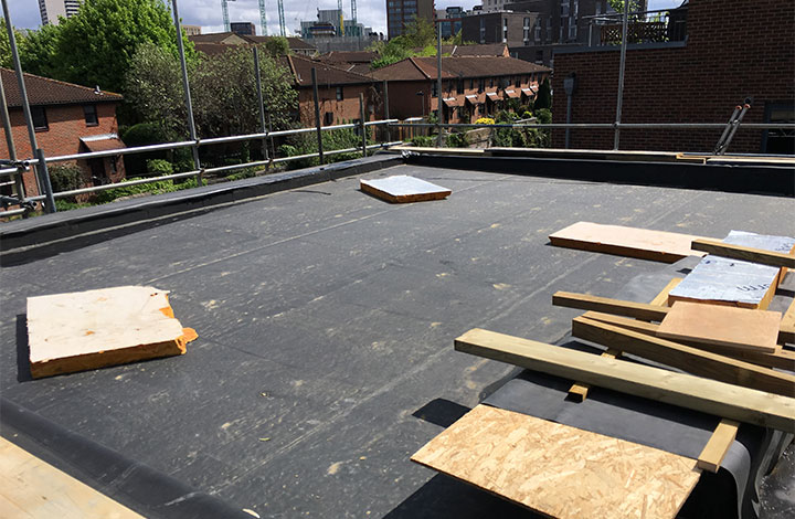 Preparation for green roof on a terrace overlooking the canal