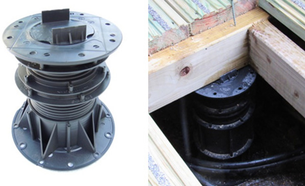 Megapad pedestal for timber Decking with timber joist