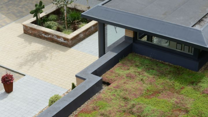 |An image of M-Tray pallets|An image of a green roof installation||