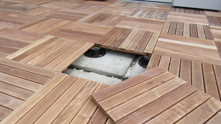 An image of a completed timber decking tiles installation|An image of a completed timber decking tiles installation