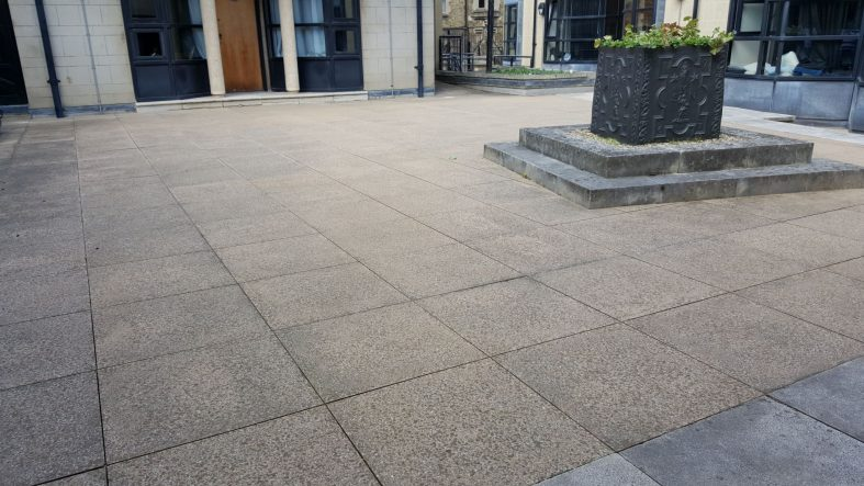 Adjustable pedestals underneath paving Somerville College Oxford