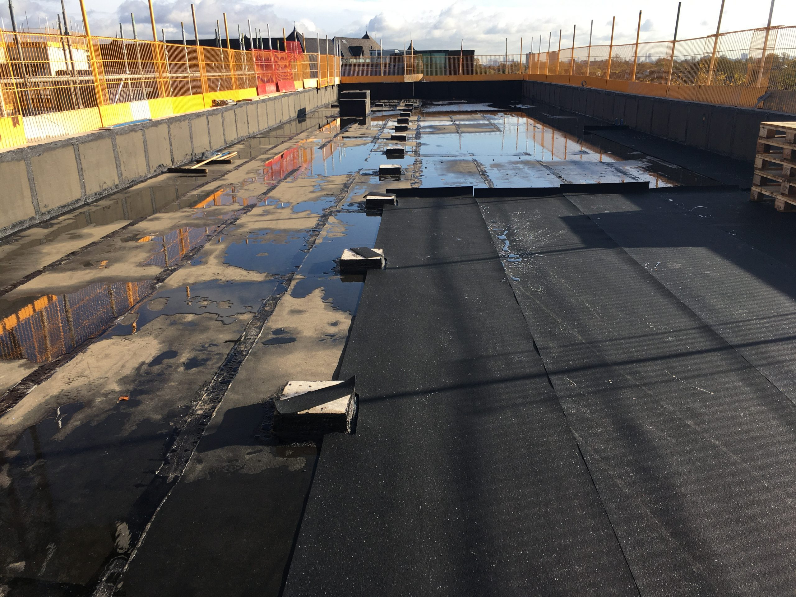 Protection of waterproofing membrane Ealing Studios