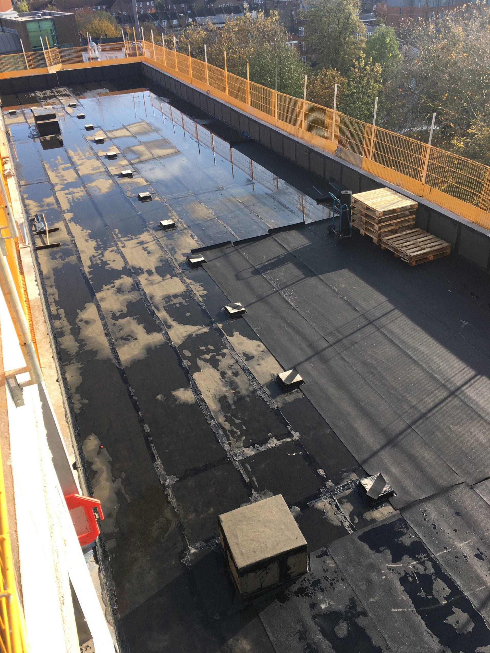 Protection of waterproofing membrane roof Ealing Studios
