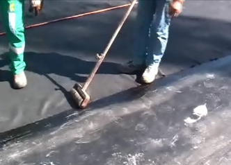 Protecto mat rubber crumb being lapped and bonded 3
