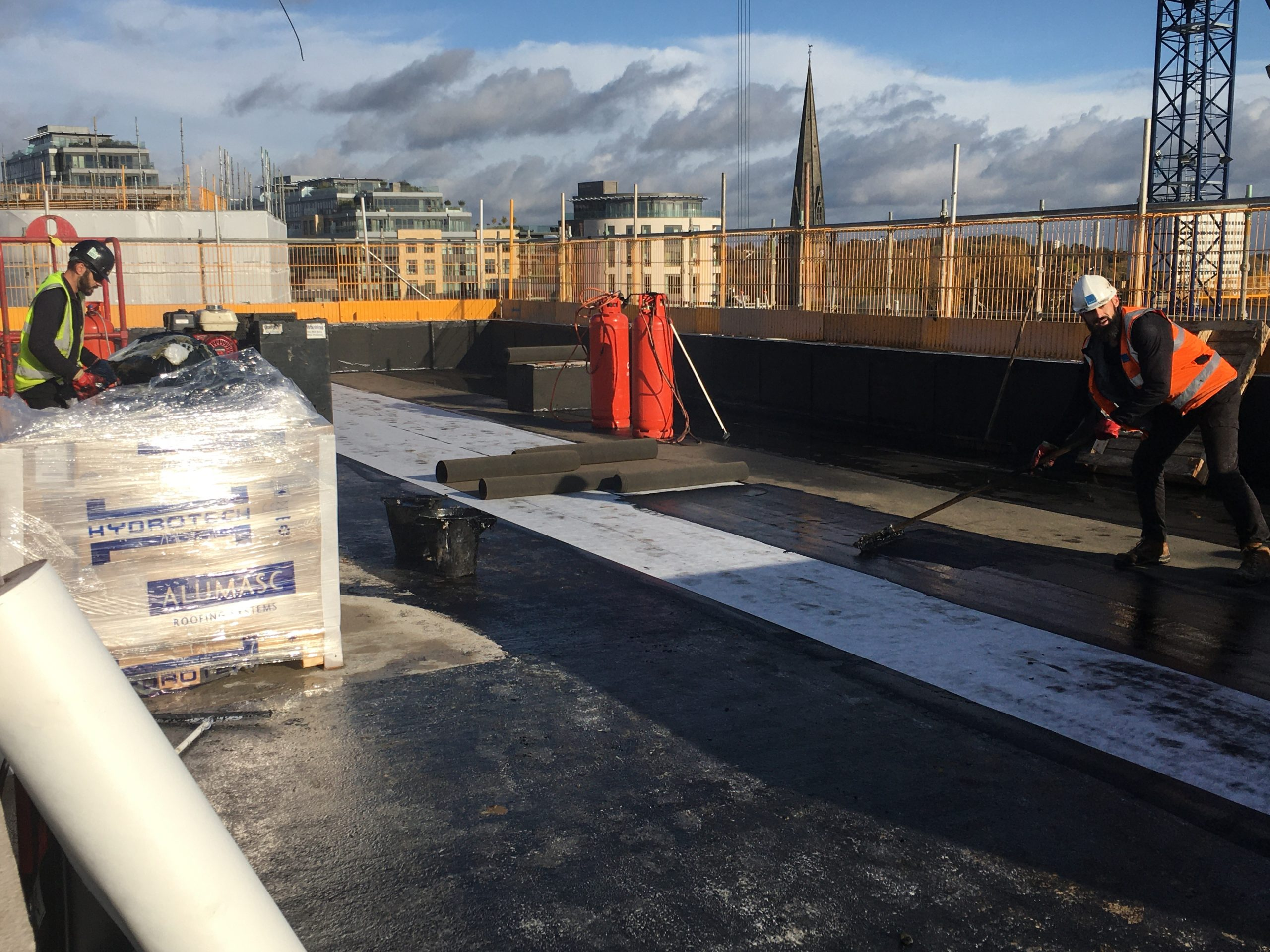 install rubber crumb protection membrane