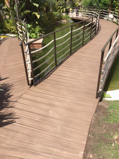 composite decking on curling walkway path
