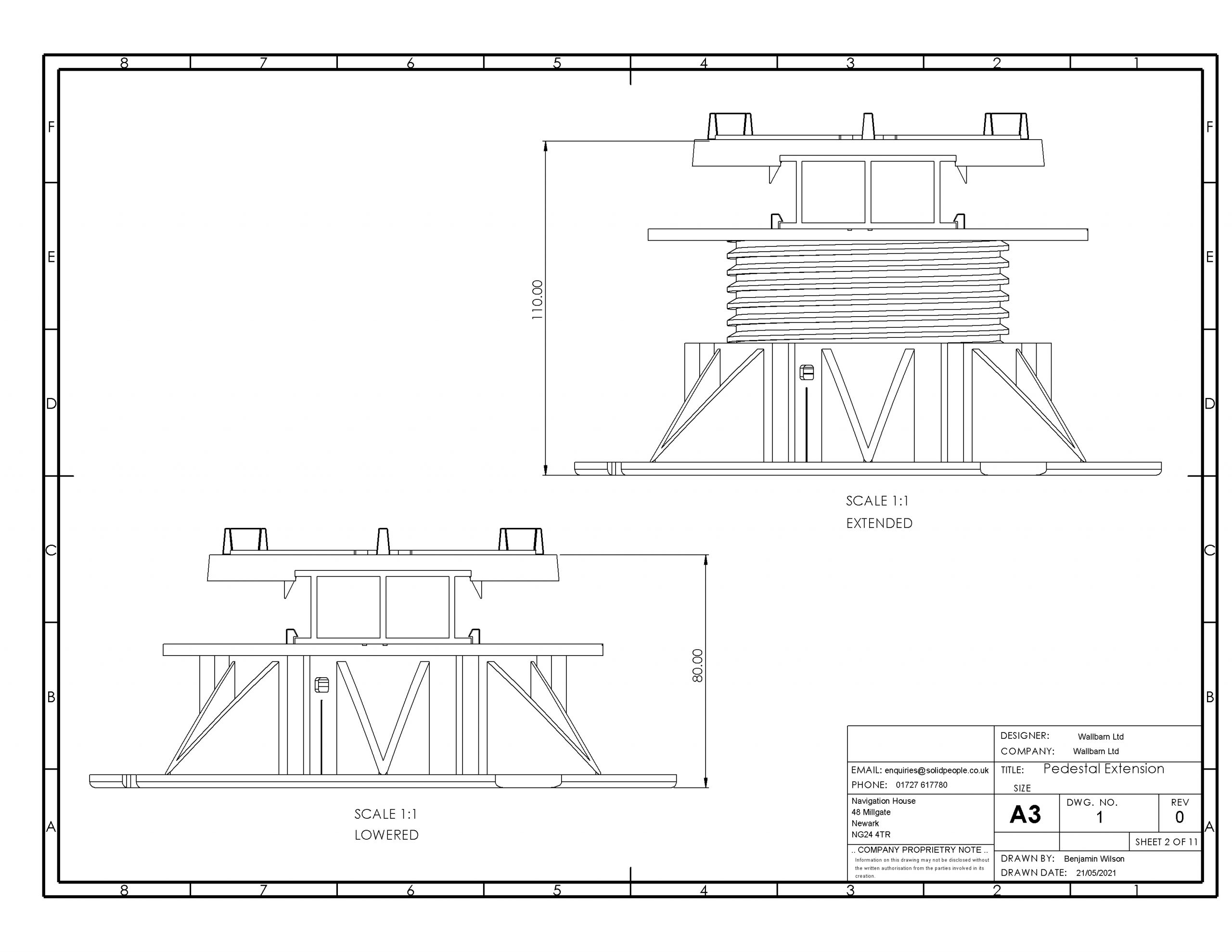 Pedestal (solid) rail top head side assembly side view