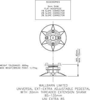Universal EXT - extra adjustable pedestal 85-135mm