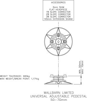 50mm-70mm  universal adjustable pedestal