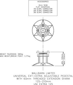 Universal EXT - extra adjustable pedestal 125 - 215mm