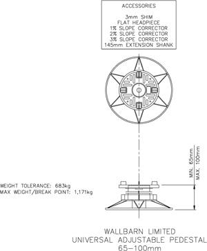 65mm-100mm  universal adjustable pedestal