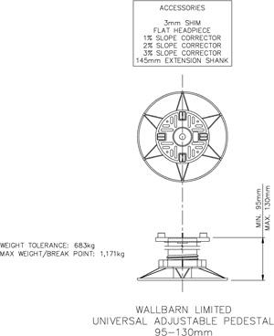 95mm-130mm universal adjustable pedestal