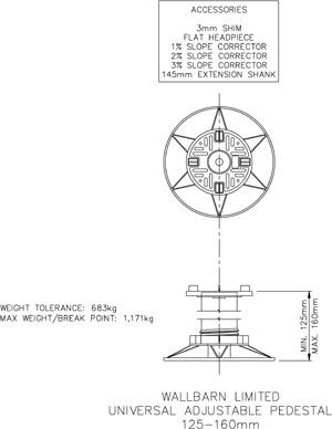 125mm-160mm universal adjustable pedestal