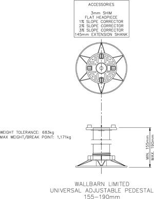 155mm-190mm universal adjustable pedestal