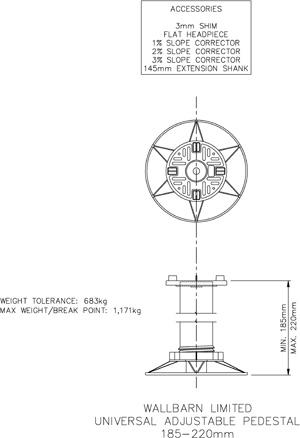 185mm-220mm universal adjustable pedestal