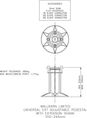 210mm-245mm universal adjustable pedestal