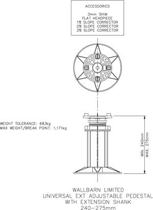240mm-275mm universal adjustable pedestal