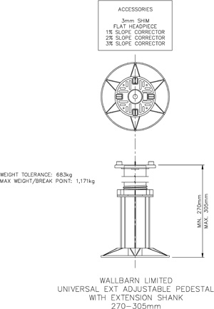270mm-305mm universal adjustable pedestal