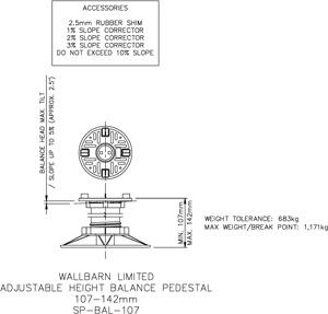 107-142mm BALANCE adjustable pedestal