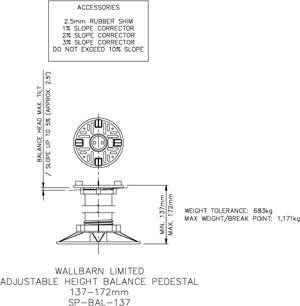137-172mm BALANCE adjustable pedestal