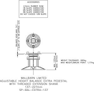 137-227mm BALANCE EXTRA adjustable pedestal