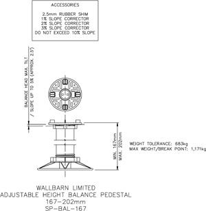 167-202mm BALANCE adjustable pedestal