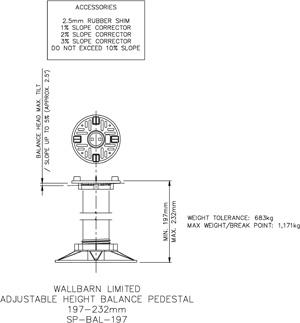 197-232mm BALANCE adjustable pedestal