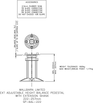 222-257mm BALANCE adjustable pedestal