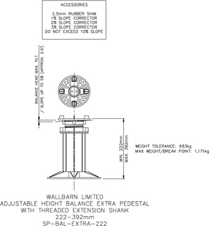 222-392mm BALANCE EXTRA adjustable pedestal